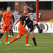 Ryan Gemmell is brought down and wins a penalty for Dundee - Dundee v Kilmarnock, SPFL Under 20s Development League at Dens Park<br /> <br />  - &copy; David Young - www.davidyoungphoto.co.uk - email: davidyoungphoto@gmail.com
