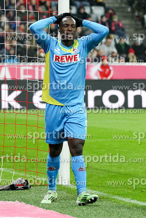 27.02.2015, Allianz Arena, Muenchen, GER, 1. FBL, FC Bayern Muenchen vs 1. FC K&ouml;ln, 23. Runde, im Bild enttaeuschung bei Anthony Ujah #9 (1. FC Koeln) vergibt eine Chance // during the German Bundesliga 23rd round match between FC Bayern Munich and 1. FC K&ouml;ln at the Allianz Arena in Muenchen, Germany on 2015/02/27. EXPA Pictures &copy; 2015, PhotoCredit: EXPA/ Eibner-Pressefoto/ EXPA/ Kolbert<br /> <br /> *****ATTENTION - OUT of GER*****