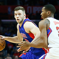 07 November 2016: Detroit Pistons forward Jon Leuer (30) drives past Los Angeles Clippers forward Wesley Johnson (33) during the LA Clippers 114-82 victory over the Detroit Pistons, at the Staples Center, Los Angeles, California, USA.