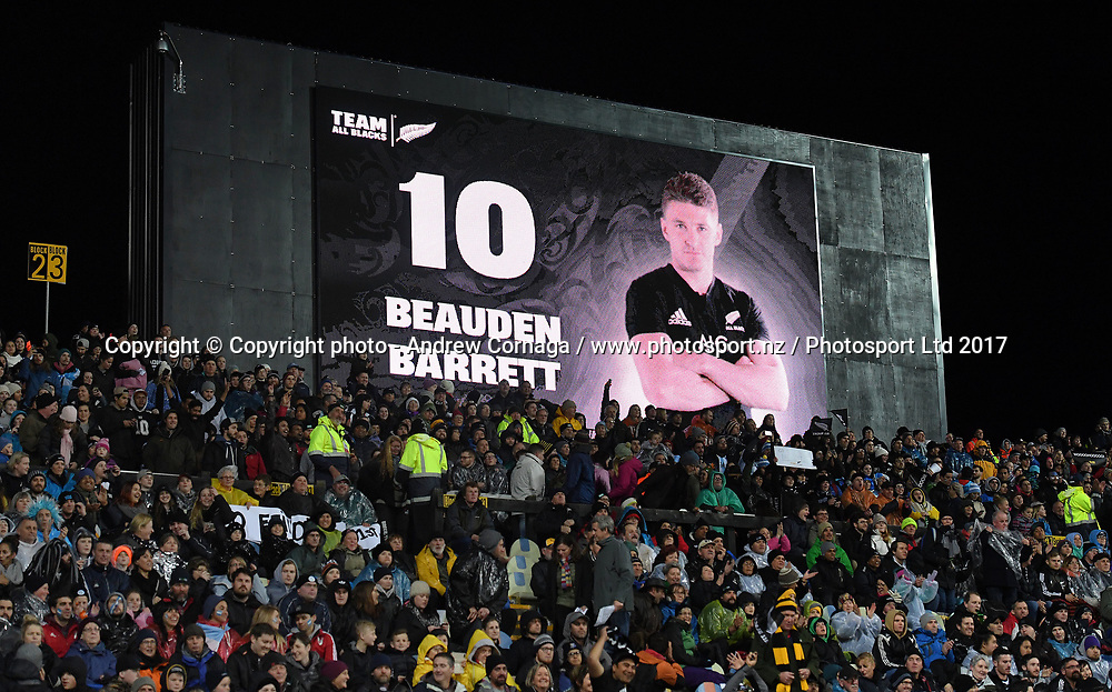 Beauden Barrett on the big screen.<br /> Rugby Championship test match rugby union. New Zealand All Blacks v Argentina Los Pumas, Yarrow Stadium, New Plymouth. New Zealand. Saturday 9 September 2017. &copy; Copyright photo: Andrew Cornaga / www.Photosport.nz