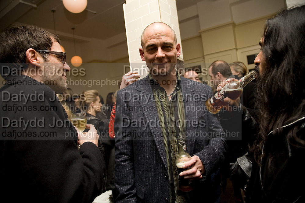 DEXTER DALWOOD AND DINOS CHAPMAN. Happiness- Private view of work by Barry Reigate. Paradise Row, London and afterwards at Mark hix's new restaurant. ix Oyster and Chop House, 37-37 Greenhill Rents, Cowcross St, EC1. 14 March 2008. <br /> *** Local Caption *** -DO NOT ARCHIVE-&copy; Copyright Photograph by Dafydd Jones. 248 Clapham Rd. London SW9 0PZ. Tel 0207 820 0771. www.dafjones.com.