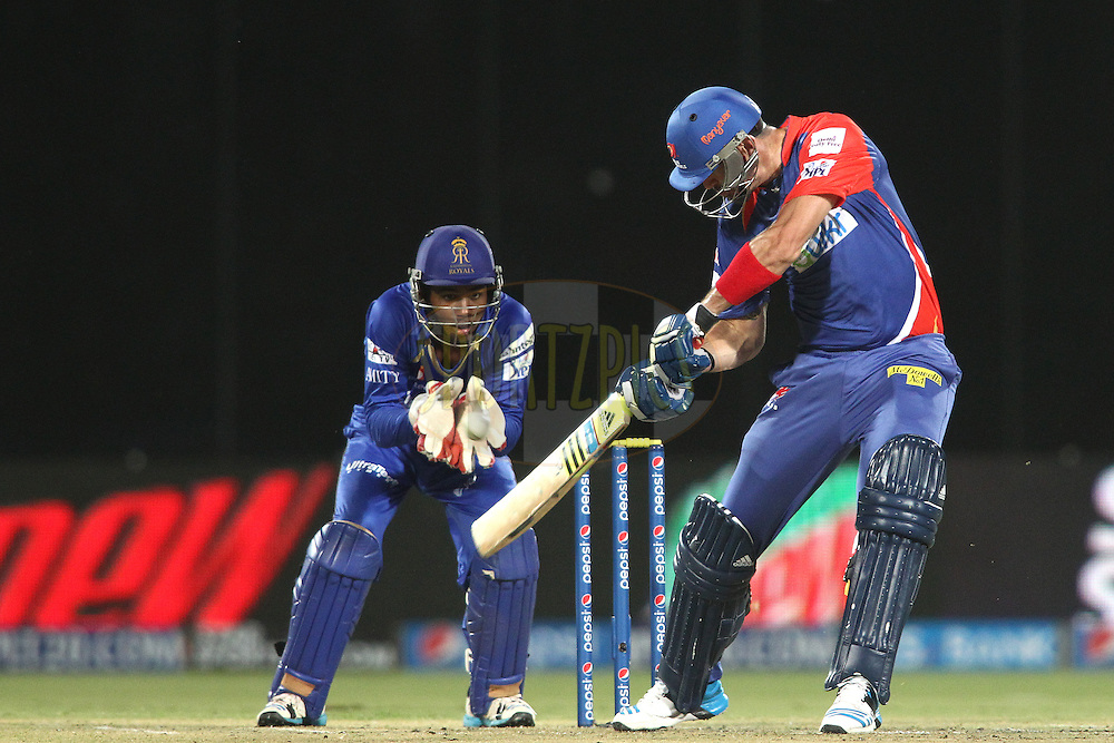 Kevin Pietersen captain of of the Delhi Daredevils square cuts a delivery during match 23 of the Pepsi Indian Premier League Season 2014 between the Delhi Daredevils and the Rajasthan Royals held at the Feroze Shah Kotla cricket stadium, Delhi, India on the 3rd May  2014<br /> <br /> Photo by Shaun Roy / IPL / SPORTZPICS<br /> <br /> <br /> <br /> Image use subject to terms and conditions which can be found here:  http://sportzpics.photoshelter.com/gallery/Pepsi-IPL-Image-terms-and-conditions/G00004VW1IVJ.gB0/C0000TScjhBM6ikg