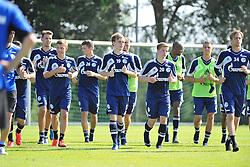 01.07.2013, Oeschberghof, Donaueschingen, GER, 1. FBL, FC Schalke 04 Trainingslager, im Bild Die Spieler des FC Schalke 04 beim Auslaufen. (v.l.n.r.) Adam SZALAI (FC Schalke 04) Max MEYER (FC Schalke 04) Chinedu OBASI (FC Schalke 04) Teemu PUKKI (FC Schalke 04) Rene KLINGENBURG (FC Schalke 04) Timo HILDEBRAND (Torwart FC Schalke 04) // during a Trainingsession of German Bundesliga Club FC Schalke 04 at the Oeschberghof, Donaueschingen, Germany on 2013/07/01. EXPA Pictures © 2013, PhotoCredit: EXPA/ Eibner/ Sven Laegler<br /> <br /> ***** ATTENTION - OUT OF GER *****