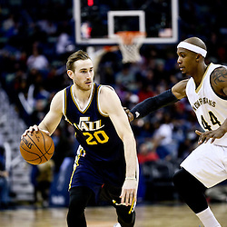 Feb 10, 2016; New Orleans, LA, USA; Utah Jazz forward Gordon Hayward (20) drives past New Orleans Pelicans forward Dante Cunningham (44) during the second half of a game at the Smoothie King Center. The Pelicans defeated the Jazz 100-96. Mandatory Credit: Derick E. Hingle-USA TODAY Sports
