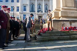 Veterans organisations, cadets military units and families  lay their wreaths of poppies at the Barnsley War Memorial on Remembrance Sunday as Barnsley Marks the Centenary of the out break of World War I<br /> <br /> 09 November 2014<br /> <br /> Image © Paul David Drabble <br /> <br /> www.pauldaviddrabble.co.uk