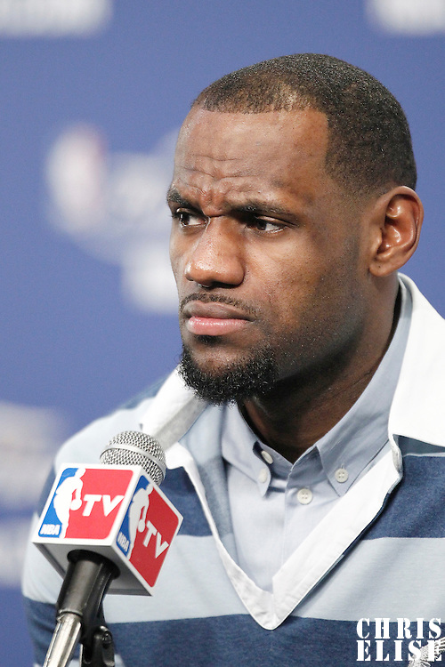 14 June 2012: Miami Heat small forward LeBron James answers journalists during the press conference following the Miami Heat 100-96 victory over the Oklahoma City Thunder, in Game 2 of the 2012 NBA Finals, at the Chesapeake Energy Arena, Oklahoma City, Oklahoma, USA.