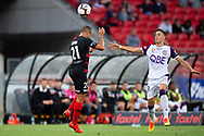SYDNEY, NSW - FEBRUARY 24: Western Sydney Wanderers defender Tarek Elrich (21) heads the ball at round 20 of the Hyundai A-League Soccer between Western Sydney Wanderers FC and Perth Glory on February 24, 2019 at Spotless Stadium, NSW. (Photo by Speed Media/Icon Sportswire)