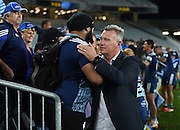 A relieved Sir John Kirwan and fans during the Super Rugby match between The Blues and Brumbies at Eden Park in Auckland, New Zealand. Friday 10 April 2015. Copyright Photo: Andrew Cornaga / www.Photosport.co.nz