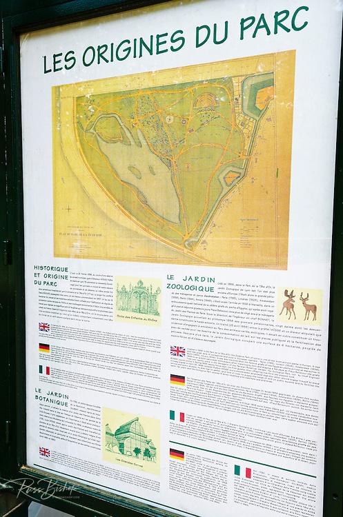 Interpretive sign at Parc de la Tete d'Or, Lyon, France (UNESCO World Heritage Site)