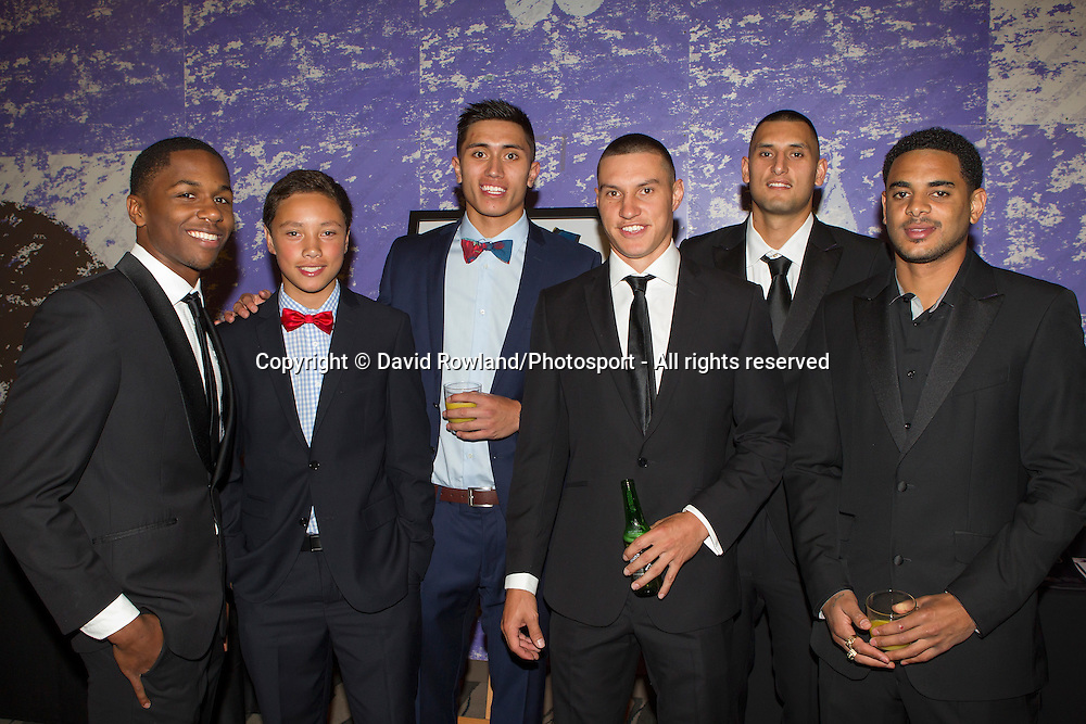 Breakers' Kerron Johnson with Duane and  Reuben Te Rangi, Jarrod Kenny, Duane Bailey and  Corey Webster at the Skycity Breakers Awards, 2013-14, Skycity Convention Centre, Auckland, New Zealand, Friday, March 28, 2014. Photo: David Rowland/Photosport