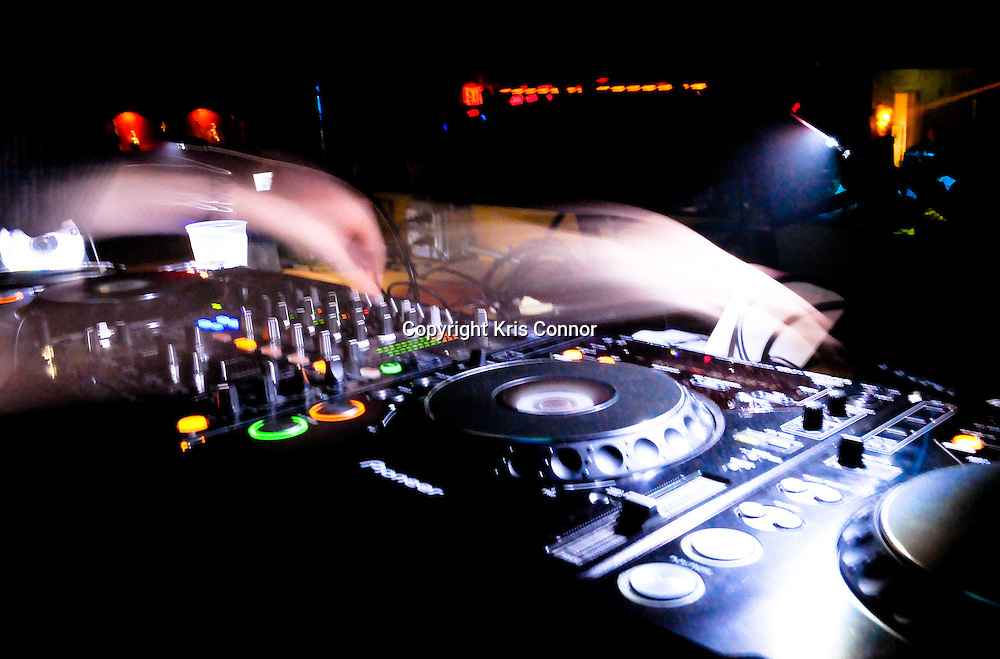 A DJ spins at FUR nightclub in Washington DC.