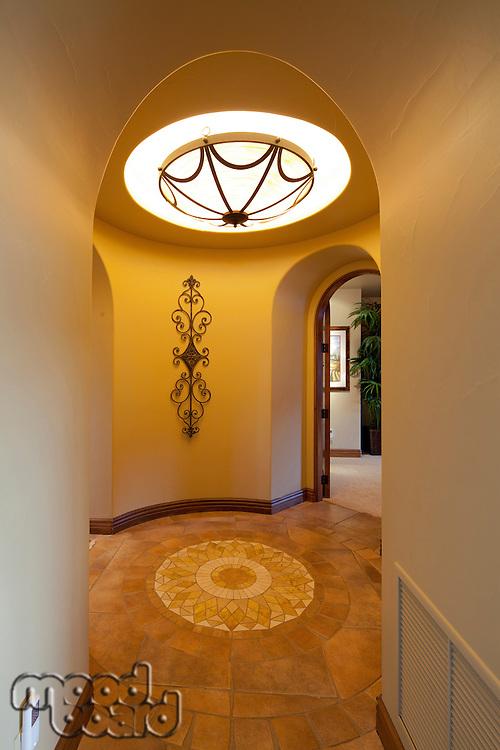 Skylight and hallway in luxury house