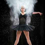 Ballet dancer in flour in Broadcast studio on the campus of Utah Valley University in Orem, Utah Tuesday Jan. 24, 2015. (August Miller)