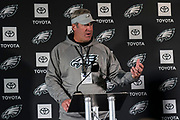 Philadelphia Eagles head coach Doug Pederson talks during the press, training and media day for Philadephia Eagles at London Irish Training Ground, Hazelwood Centre, United Kingdom on 26 October 2018. Picture by Jason Brown.