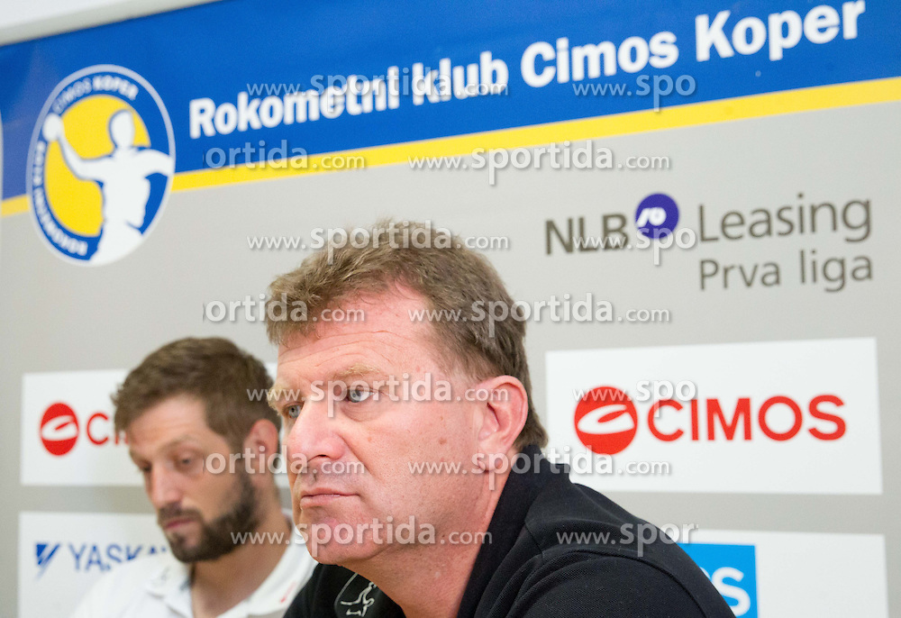 Uros Rapotec and Fredi Radojkovic, head coach  at press conference of RK Cimos Koper about financial crisis in the club on May 22, 2013 in Arena Bonifika, Koper, Slovenia. (Photo By Vid Ponikvar / Sportida)