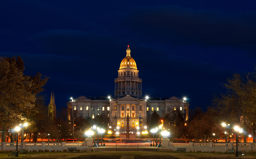 This picture shows the Colorado State Capitol building at night from a western view.<br />