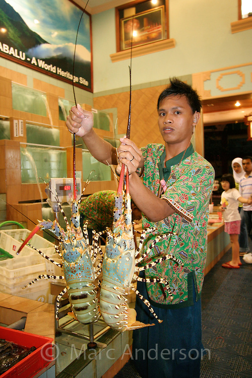 A man holding two lobsters in a seafood restaurant, Kota Kinabalu, Sabah, Malaysia..