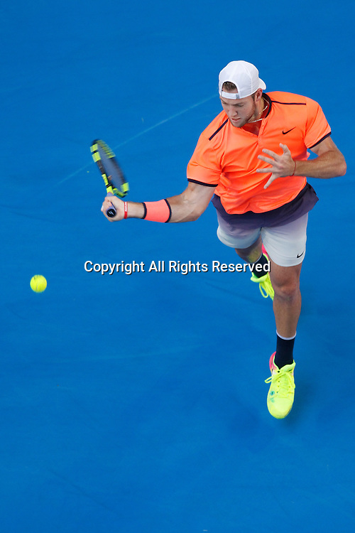 07.01.2017. Perth Arena, Perth, Australia. Mastercard Hopman Cup International Tennis tournament. Jack Sock (USA) plays a forehand shot to Richard Gasquet (FRA) in the first set during the Final.
