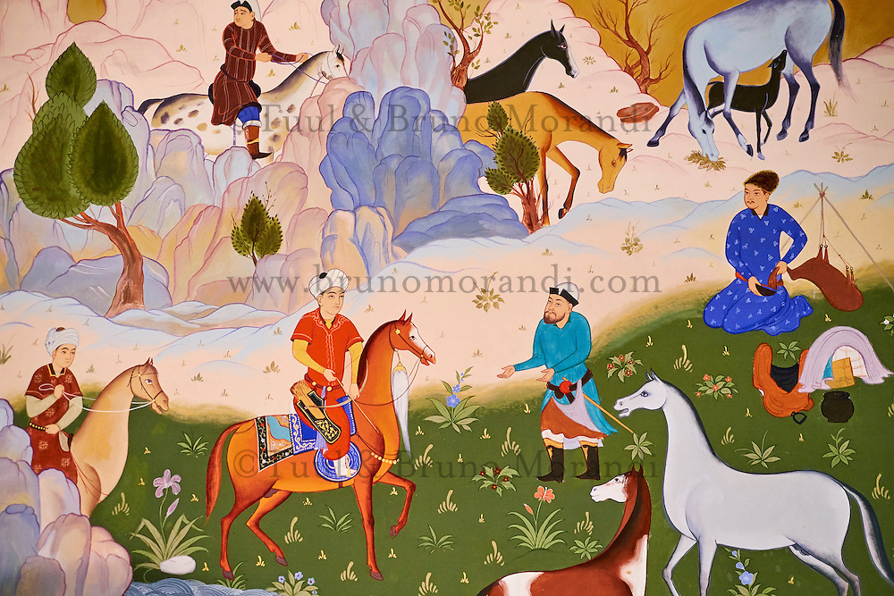 Ouzbekistan, Tashkent, place Tamerlan, Musée Tamerlan, détail d'une fresque représentant la chasse // Uzbekistan, Tashkent, Tamerlan square, Tamerlan museum,  fresco of hunitng scene