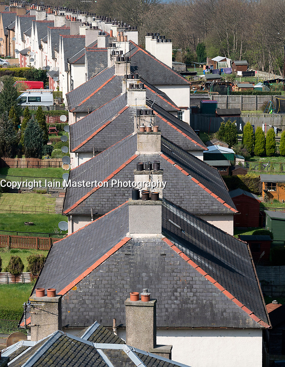 Looking down roofs on row of houses in South Queensferry Scotland, United Kingdom