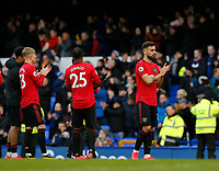 Football - 2019 / 2020 Premier League - Everton vs. Manchester United<br /> <br /> Bruno Fernadnes of Manchester United applauds the travelling fans at the final whistle, at Goodison Park.<br /> <br /> COLORSPORT/ALAN MARTIN