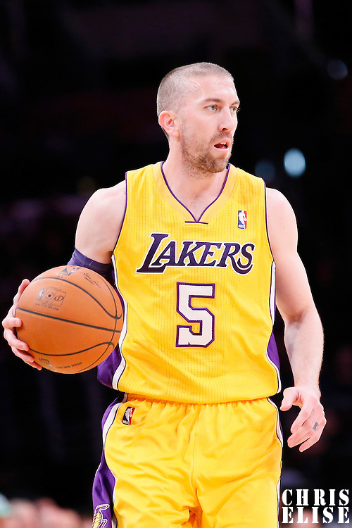 11 February 2014: Los Angeles Lakers point guard Steve Blake (5) brings the ball upcourt during the Utah Jazz 96-79 victory over the Los Angeles Lakers at the Staples Center, Los Angeles, California, USA.