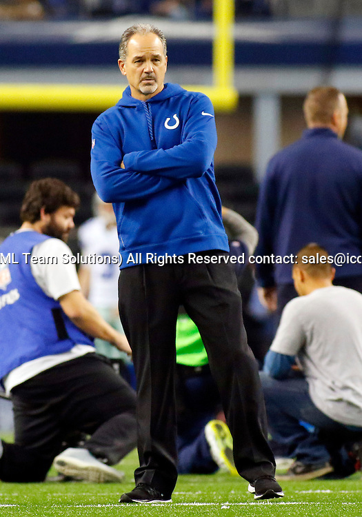 21 DEC 2014: Indianapolis Colts Head Coach Chuck Pagano during an NFL regular season game against the Dallas Cowboys played at AT&T Stadium in Arlington, TX.