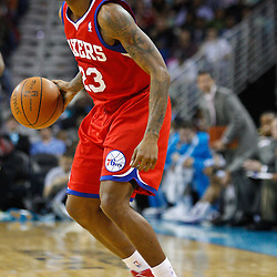 January 3, 2011; New Orleans, LA, USA; Philadelphia 76ers point guard Lou Williams (23) against the New Orleans Hornets during the second quarter at the New Orleans Arena.   Mandatory Credit: Derick E. Hingle