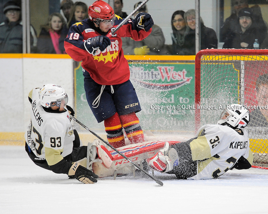 TRENTON, ON - Feb 27, 2015 : Ontario Junior Hockey League game action between the Trenton Golden Hawks and the Wellington Dukes. Game one of the best of seven series, Justin Kapelmaster #33 of the Trenton Golden Hawks makes the save during the second period<br /> (Photo by Amy Deroche/ OJHL Images)