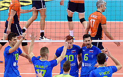 Klemen Cebulj, Mitja Gasparini, Jan Kozamernik during volleyball match between National teams of Netherlands and Slovenia in Playoff of 2015 CEV Volleyball European Championship - Men, on October 13, 2015 in Arena Armeec, Sofia, Bulgaria. Photo by Ronald Hoogendoorn / Sportida