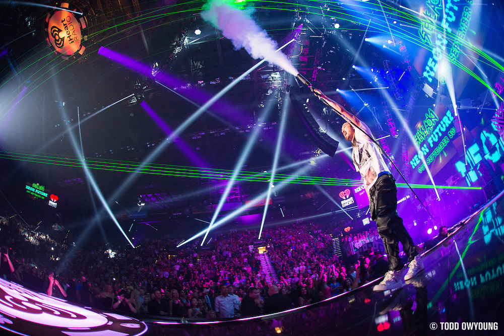 Steve Aoki performing at the iHeartRadio Music Festival in Las Vegas, Nevada on Sepembter 20, 2014.