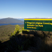 A sign on the Tangariro Alpine Crossing.  The Tongariro Alpine Crossing is a 7-8 hour hike traversing two active volcanoes within the Tongariro National Park, North Island, New Zealand.  It is considered to be the best one day hike in New Zealand and in the top 10 one day hikes in the world. Packed into the 19.4km hike is an array of diverse landscapes and vegetations. From tussock like alpine meadows, to rugged lava flows, desert like craters and emerald lakes.  The Tongariro Alpine  9th January 2011. Photo Tim Clayton..
