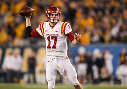 Nov 4, 2017; Morgantown, WV, USA; Iowa State Cyclones quarterback Kyle Kempt (17) passes the ball during the fourth quarter against the West Virginia Mountaineers at Milan Puskar Stadium. Mandatory Credit: Ben Queen-USA TODAY Sports