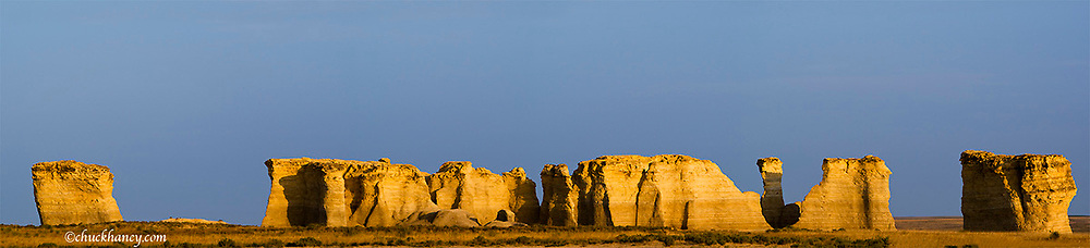 Panoramic of the sandstone oputcroppings called Monument Rocks  in the badlands of western Kansas