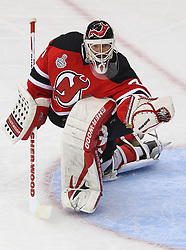 May 30; Newark, NJ, USA; New Jersey Devils goalie Martin Brodeur (30) makes a save during the second period of 2012 Stanley Cup Finals Game 1 at the Prudential Center.  The Kings defeated the Devils 2-1.