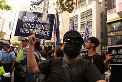 October 1, 2018 - Hong Kong, CHINA - Today marks the 69th anniversary of the founding of PRC, Hong Kong Independence advocates staged a protest on the national day calling for Hong Kong independence. Oct-1,2018 Hong Kong.ZUMA/Liau Chung-ren (Credit Image: © Liau Chung-ren/ZUMA Wire)
