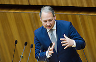 Leader of the Parliamentary Group SPOe Andreas Schieder, speaks during a presentation of the new foreign minister and tightening of asylum law at Austrian Parliament Building, Innere Stadt<br /> Picture by EXPA Pictures/Focus Images Ltd 07814482222<br /> 27/04/2016<br /> ***UK &amp; IRELAND ONLY***