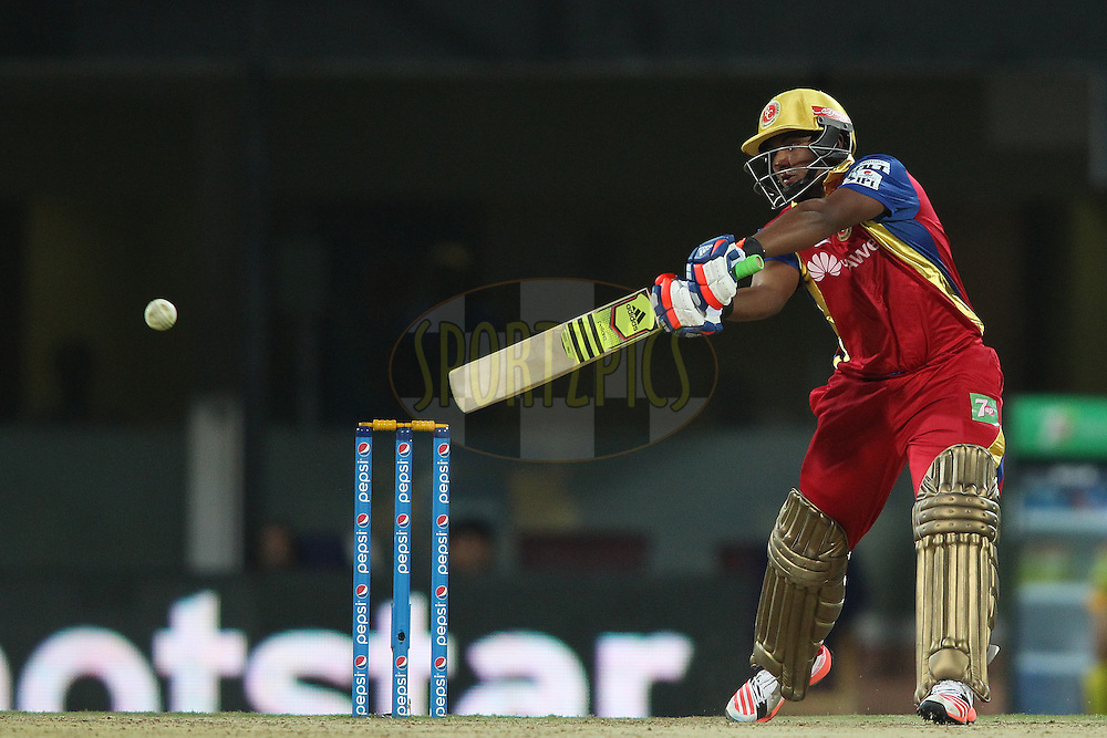 Sarfaraz Naushad Khan of the Royal Challengers Bangalore plays a delivery square during match 37 of the Pepsi IPL 2015 (Indian Premier League) between The Chennai Superkings and The Royal Challengers Bangalore held at the M. A. Chidambaram Stadium, Chennai Stadium in Chennai, India on the 4th May April 2015.<br /> <br /> Photo by:  Shaun Roy / SPORTZPICS / IPL