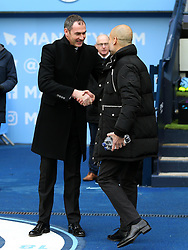 Swansea City manager Paul Clement shakes hands with Manchester City manager Josep Guardiola - Mandatory by-line: Matt McNulty/JMP - 05/02/2017 - FOOTBALL - Etihad Stadium - Manchester, England - Manchester City v Swansea City - Premier League