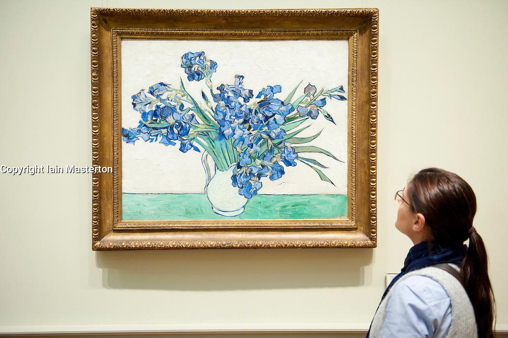 Woman looking at painting Irises by Vincent van Gogh at Metropolitan Museum of Art in Manhattan , New York City, USA