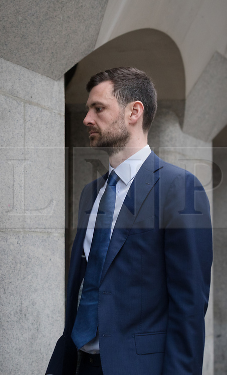 © Licensed to London News Pictures. 10/03/2017. LONDON, UK.  ALEXANDER THOMSON, 32 arrives at The Old Bailey court in London for sentencing. Alexander Thomson, a City worker has admitted killing his former colleague, Thomas Hulme with a single punch because he threw his shoe out of a taxi window as the pair made their way home after a night out..  Photo credit: Vickie Flores/LNP