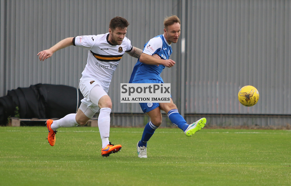 Iain Russell put in a cross during the Dumbarton FC V Queen of the South FC Scottish Championship 22th August 2015 <br /> <br /> (c) Andy Scott | SportPix.org.uk