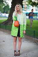 Green Coat and Orange Wicker Bag, Outside Giambattista Valli