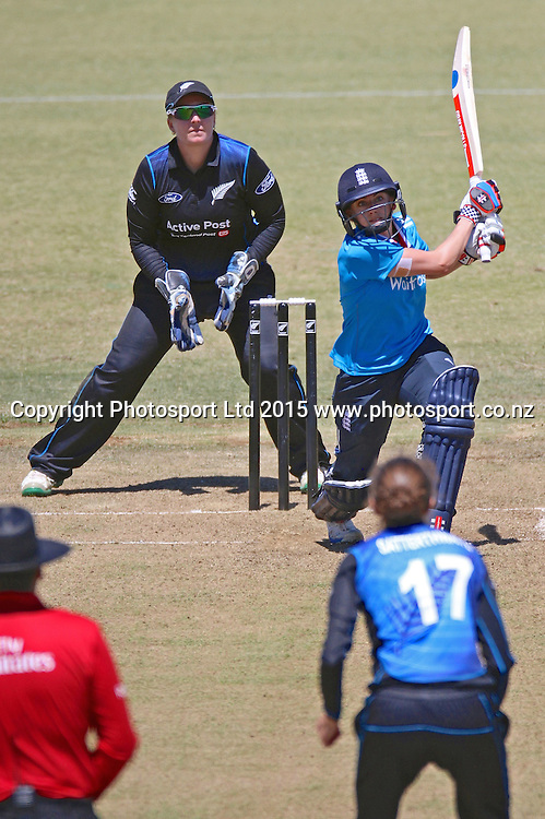 Laura Marsh caught by Suzie Bates off Amy Satterthwaite. New Zealand White Ferns v England - 3rd ODI at Bay Oval, Mount Maunganui, New Zealand. 15 February 2015. Photo credit: Margot Butcher/www.photosport.co.nz