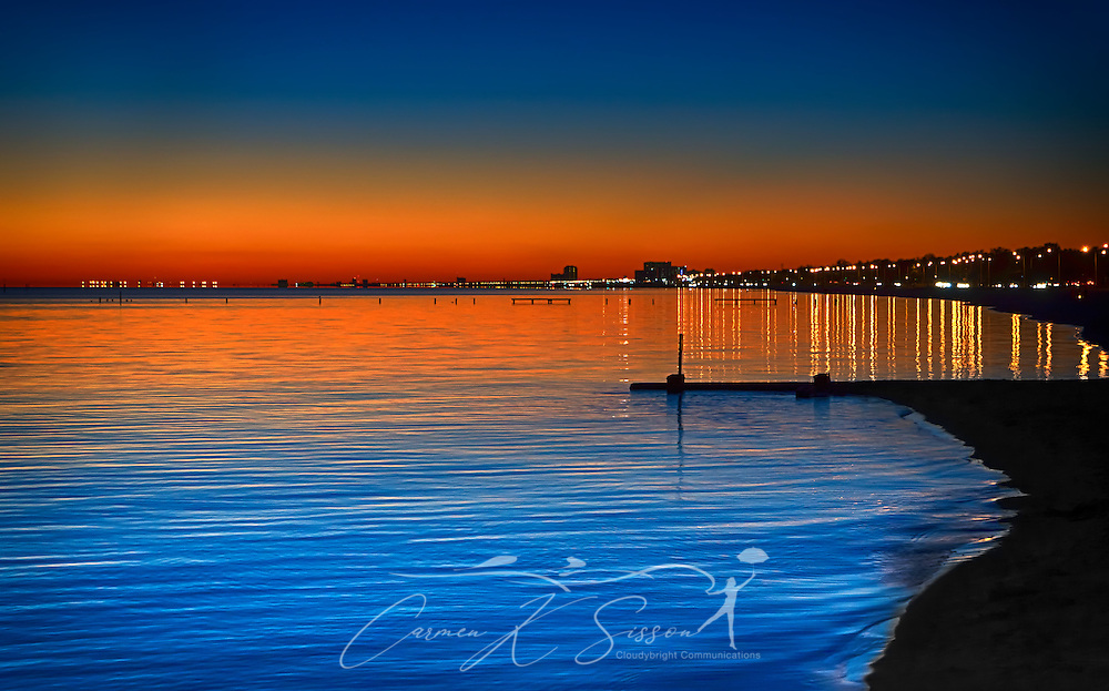 The sun sets on Biloxi Beach in Biloxi, Mississippi, Nov. 24, 2012. (Photo by Carmen K. Sisson/Cloudybright)