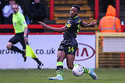 Forest Green Rovers Ebou Adams(14) crosses the ball during the EFL Sky Bet League 2 match between Stevenage and Forest Green Rovers at the Lamex Stadium, Stevenage, England on 26 December 2019.