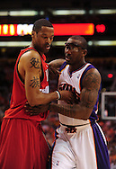 Apr 18, 2010; Phoenix, AZ, USA; Phoenix Suns forward Amare Stoudemire (1) fights for positioning with  Portland Trailblazers forward Marcus Camby (21) during the first half in game one in the first round of the 2010 NBA playoffs at the US Airways Arena.  The Trail Blazers defeated the Suns 105-100.  Mandatory Credit: Jennifer Stewart-US PRESSWIRE