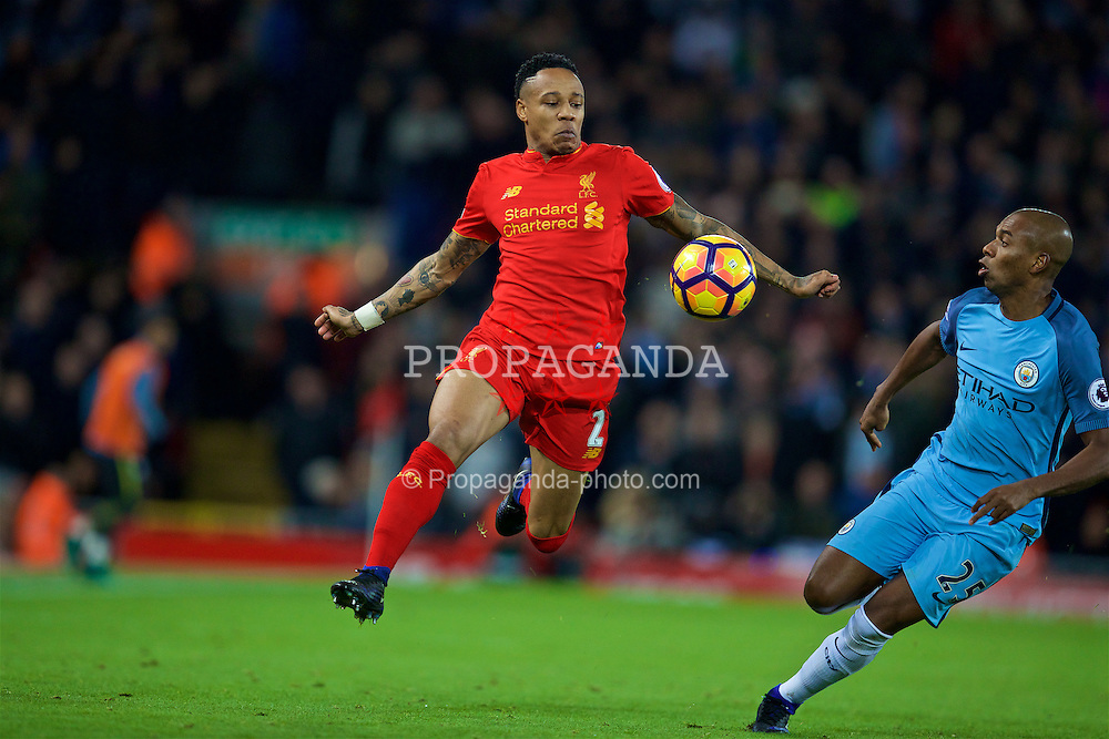 LIVERPOOL, ENGLAND - Saturday, December 31, 2016: Liverpool's Nathaniel Clyne in action against Manchester City during the FA Premier League match at Anfield. (Pic by David Rawcliffe/Propaganda)
