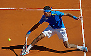 Argentina's tennis player Juan Martin Del Potro returns the ball to Croatia's Marin Cilic during a 2012 Davis Cup quarterfinal match at Parque Roca stadium in Buenos Aires on April 8, 2012. Del Potro won 6-1, 6-2 and 6-1 and gave the series to Argentina.  (PHOTOXPHOTO/Alejandro PAGNI)