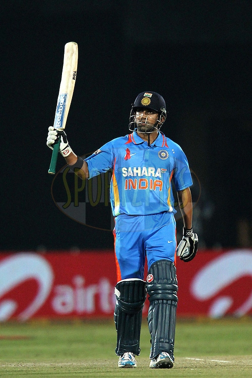 Gautam Gambhir (capt.) celebrates his fifty during the 2nd ODI ( One Day International ) between India and New Zealand held at the Sawai  Mansingh Cricket Stadium in Jaipur, Rajasthan India on the 1st December 2010..Photo by Ron Gaunt/BCCI/SPORTZPICS